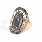 1-3108-f2 18kt gold Layered Two Tone Guadalupe Ring for Women, Virgin is 17mmx25mm, Ring Sizes 7 to 9,