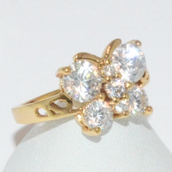 1-3109-e1 Gold Plated CZ Butterfly Ring (Different Colors Available)