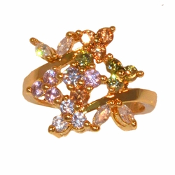 1-3109-e11 Gold Layered Multicolored CZ Ring. Sizes 5-8.