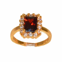 1-3112-e211 Gold Layered Red Emerald Cut CZ Ring. Sizes 6-8.