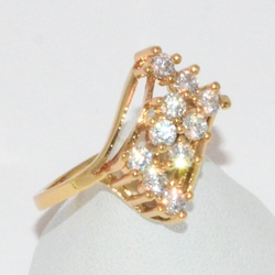 1-3113-e1 Gold Plated CZ Ring
