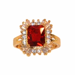 1-3125-e11 Gold Layered Red CZ Ring. Sizes 6-9.