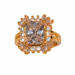 1-3125-e211 Gold Layered CZ Ring. Sizes 6-9.