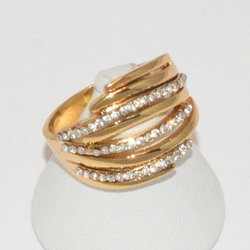 1-3129-e1 Gold Plated Crystal Stones Ring