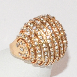 1-3142-e1  Gold Plated Bubble CZ Ring