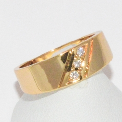 1-3152-e1 Gold Plated CZ Ring