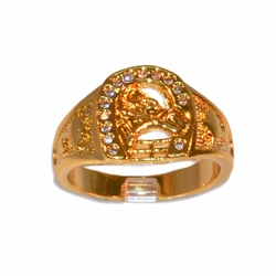 1-3152-e11 Gold Layered Horseshoe Ring for Men. Sizes 9-12.