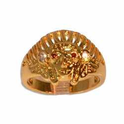 1-3152-e211 Gold Layered Indian Head Ring for Men. Sizes 9-12.