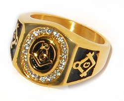 1-3156-D1 CZ Men Masonic Ring
