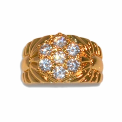 1-3156-e11 Gold Layered Mens Round CZ Ring. Sizes 9-12.