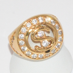 1-3158-e1 Gold Plated Money CZ Ring