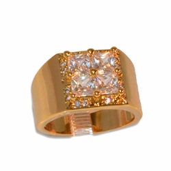 1-3166-e11 Gold Layered Square CZ Ring for Men. Sizes 9-12.