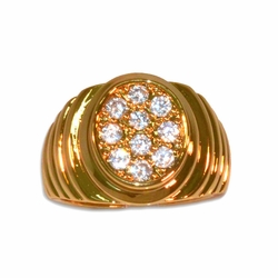 1-3166-e211 Gold Layered Oval CZ Ring for Men. Sizes 9-12.