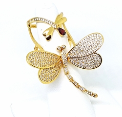 1-3196-g1 18kt Brazilian Gold Layered Micro Pave Dragon Fly Full Finger Moving Ring. Wings Move. Adjustable Size.