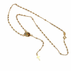 """1-3306-e9 Virgen Maria Rosary Necklace. 18"""" length. 3mm beads, 0.5"""" cross."""