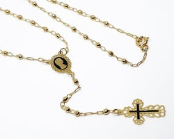 1-3306-f10 18kt Brazilian Gold Layered Virgin Mary Rosary Necklace with Black Accents. 24 inches, 3mm beads.
