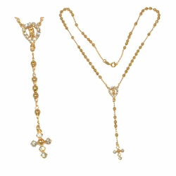 """1-3309-e212 Gold layered, Rosary necklace, 18"""" length, 4mm beads,"""