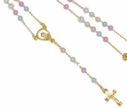 1-3326-D1 Virgin Multicolored Pearl Rosary