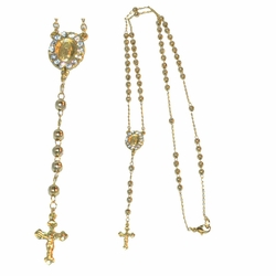 "1-3327-e12 Gold Layered, Rosary Necklace, 4mm beads, 24"" length,"