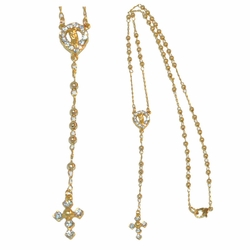 "1-3327-e212 Gold Layered, Rosary Necklace, 3mm beads, 20"" length,"