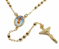 """1-3329-g1 18kt Brazilian Gold Layered Divino Ni�o (Baby Jesus) Rosary Necklace. 24"""" length, 4mm beads, 1"""" cross."""