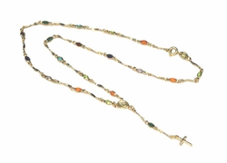 1-3333-D2 Multicolor Stones Rosary Necklace