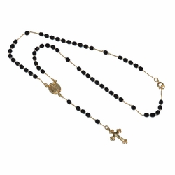 "1-3343-e12 Gold Plated 18"" Rosary necklace."