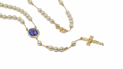 1-3348-f8 18kt Brazilian Gold Layered Divino Ni�o Pearl Rosario Necklace. 5mm pearls, 20 inches length.