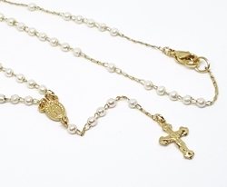 1-3350-f10 18kt Brazilian Gold Plated Virgin Mary Pearl Rosary Necklace. 16 inches, 3mm pearl beads.