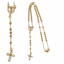 """1-3309-e312 Gold Filled, Rosary Necklace, 4mm beads, 3/4"""" cross, 2 sizes available,"""
