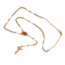 """1-3364-e9 Guadalupe Rosary necklace. 24"""" length, 4mm beads, 1.25"""" cross."""