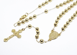 1-3369-f10 18kt Brazilian Gold Plated Virgen de Guadalupe Rosary Necklace. 24 inches, 6mm beads.