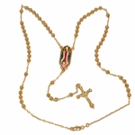 """1-3371-e10 Gold Plated Gadalupe Art Rosary Necklace. 24"""", 5mm beads, 1.5"""" cross."""
