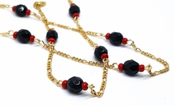 "1-3901-3902-AZB-f10 18kt Brazilian Gold Layered Azabache 18"" Necklace and 7-1/2"" Bracelet Set. Beads 6mm."