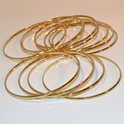 1-4002-e11 Gold Layered Classic 2mm Half Round Bangles. Sold by Dozen 2mm