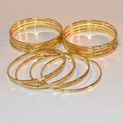1-4038-e11 Gold Layered Gypsy Bamboo Bangles. 3.5mm. Sold by Dozen.
