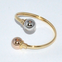 1-4029-D1 Three Tone  Ball Bangle