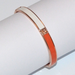 1-4030-D1 Rose *Gold Plated Bangle - Orange/White