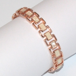 1-4077-D1 Rose *Gold Plated Bangle - Mother fo Pearl
