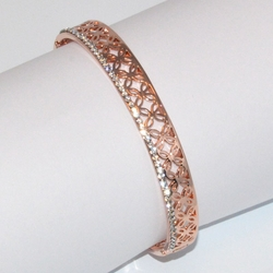 1-4077-D2 Rose *Gold Plated Bangle - Crystals