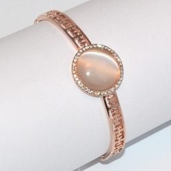1-4078-D1 Rose *Gold Plated Bangle - Cream CatEye
