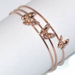 1-4083-D1 Rose *Gold Plated Bangle - Triple Butterfly