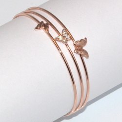 1-4083-D2 Rose *Gold Plated Bangle - Triple Butterly w Crystals