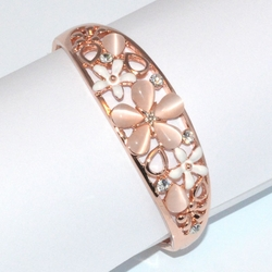 1-4088-D1 Rose *Gold Plated Bangle - CatEye Cream Flower