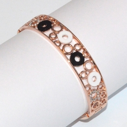 1-4088-D2 Rose *Gold Plated Bangle - Black and white Circles