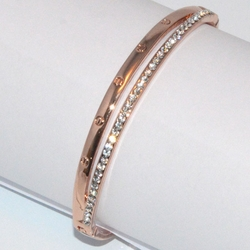 1-4089-D1 Rose *Gold Plated Bangle - Crystals Double