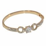 1-4092-e11 Gold Layered Open/Close Bangle with all white Crystals. 12mm.