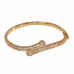 1-4092-e311 Gold Layered Open/Close Bangle with Crystals.  4mm.