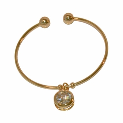 1-4094-e11 Gold Layered Balance with CZ Center Charm. 2mm Tube, 13mm charm.