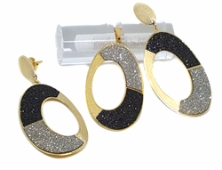1-6003-f9 18kt Brazilian Gold Layered Black and Silver Drusy Glitter Design Earring and Pendant Set. 26mm wide by 2 inches long.